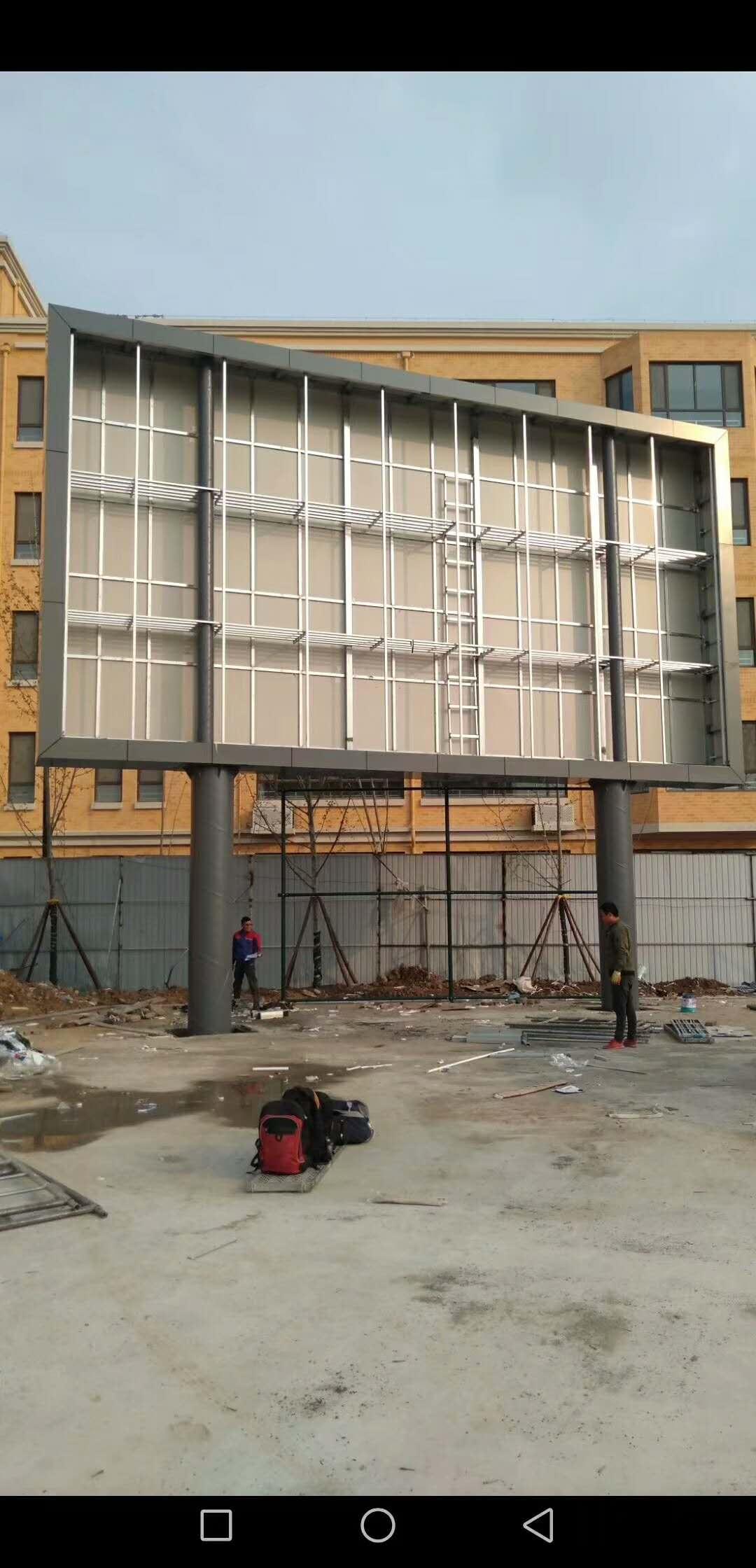 学校户外全彩LED电子显示屏钢结构施工现场