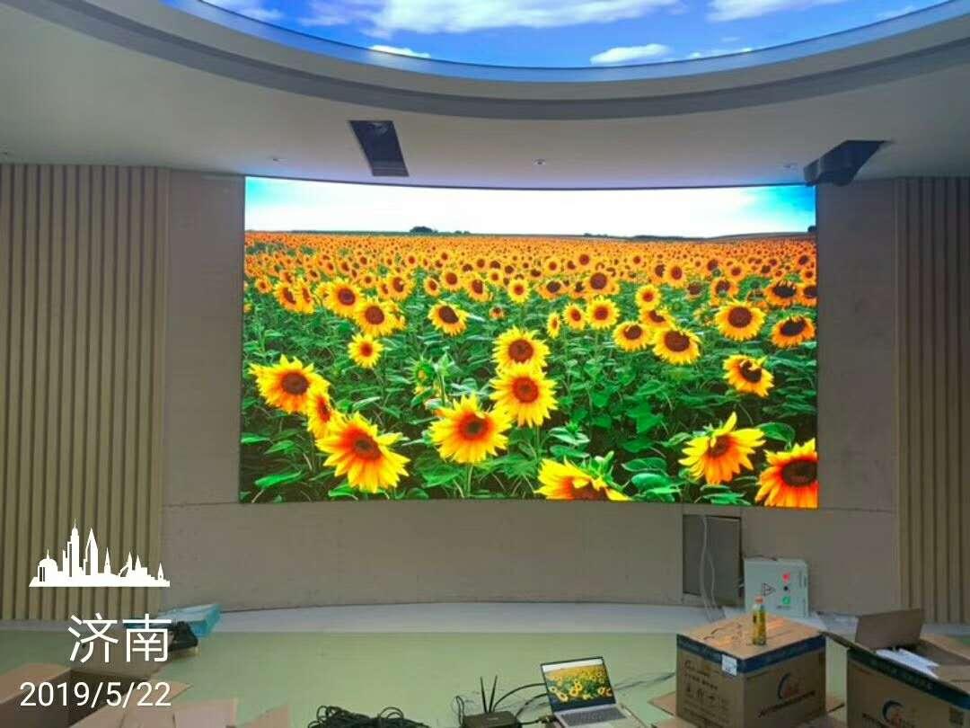 山东济南某单位p1.923室内小间距LED显示屏安装调试完毕