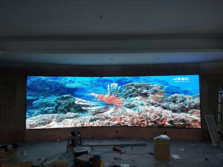 山东国际饭店室内会议室全彩高清LED电子大屏幕案例